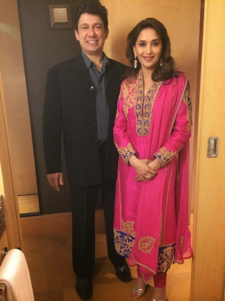 Madhuri and her huby  at Colors' party