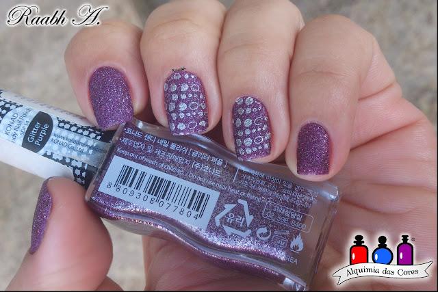 Konad Sandy Glitter Purple, Esmalte Texturizado, Roxo, Liquid Sand, Konad M100, unhas carimbadas, Raabh A.