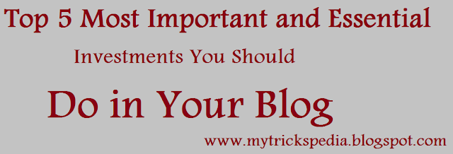 Top 5 Most Important and Essential Investments You Should Do in Your Blog