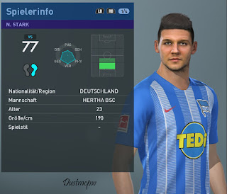 PES 2019 Faces Niklas Stark by Dustmcpw