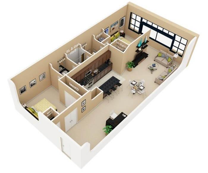 2 yatak odalı ev planı