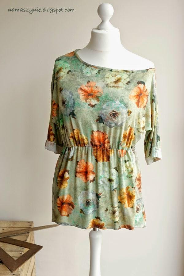 Bluzy i bluzeczki, rękaw 3/4, gumka w talii, łódka, dekolt, opadająca, na ramię, szeroki, kwiaty, dzianina, rękaw, kimono,