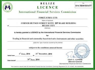 Forex ICREG лицензия