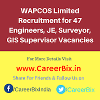 WAPCOS Limited Recruitment for 47 Engineers, JE, Surveyor, GIS Supervisor Vacancies