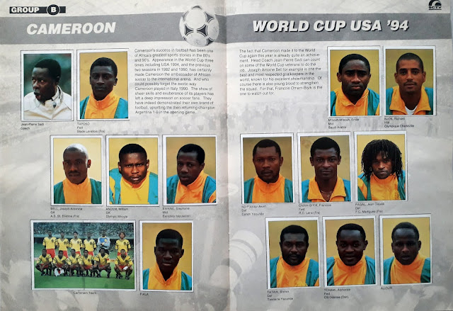 WORLD CUP USA '94 STICKER ALBUM COLLECTION GROUP B CAMEROON