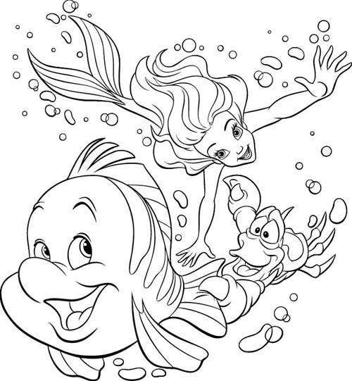 Princess ariel little mermaid coloring pages learn to for Princess coloring pages ariel