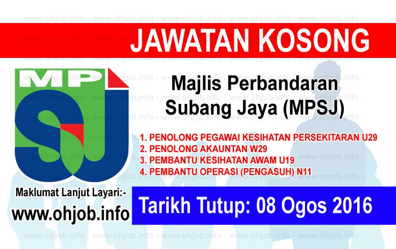 Jawatan Kerja Kosong Majlis Perbandaran Subang Jaya (MPSJ) logo www.ohjob.info ogos 2016