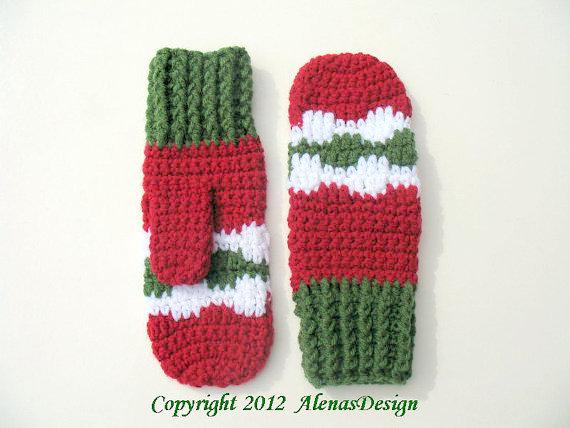 christmas mittens gloves crochet pattern