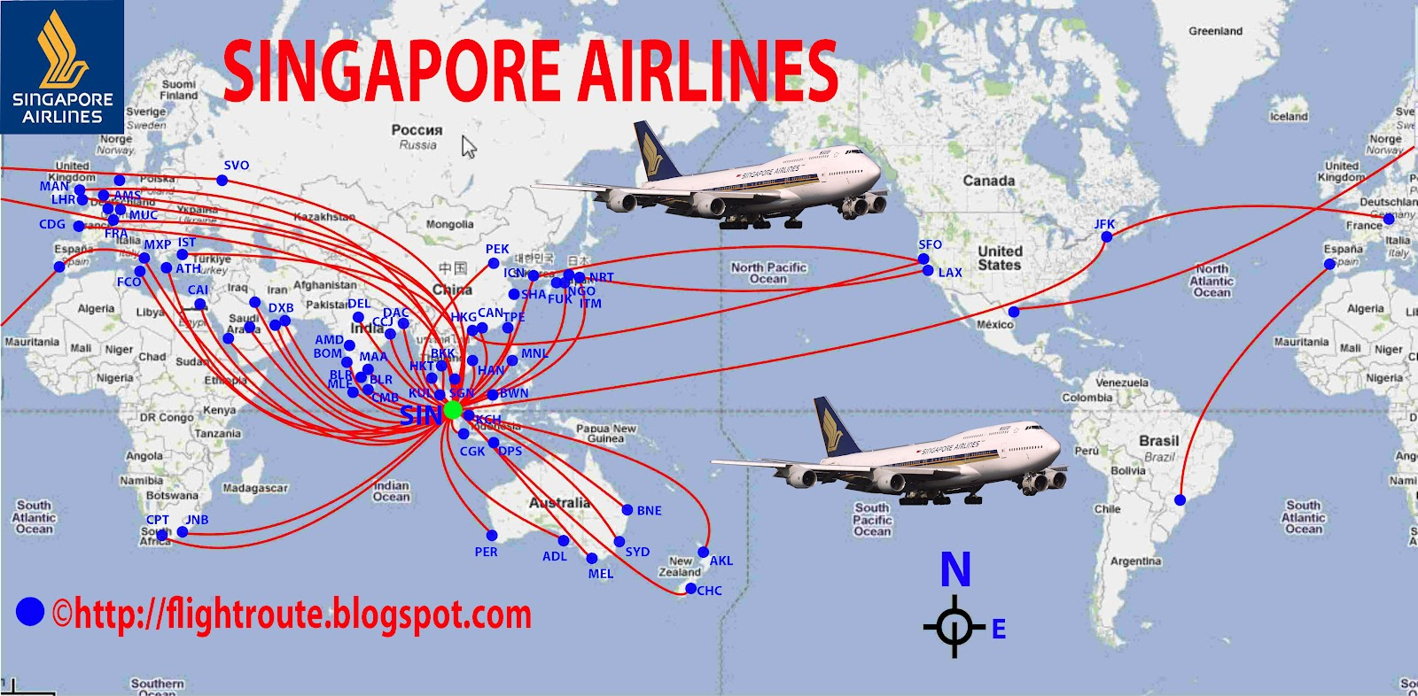 International Flights Singapore Airlines Route Map