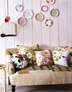 artistic floral print cushions and pictures
