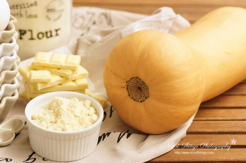Zutaten für Kürbis Muffins, Kürbis Blondies, Kürbis Brownies mit Butternut