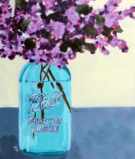 Homegrown floral painting by Pennsylvania artist Merrill Weber acrylic on canvas framed