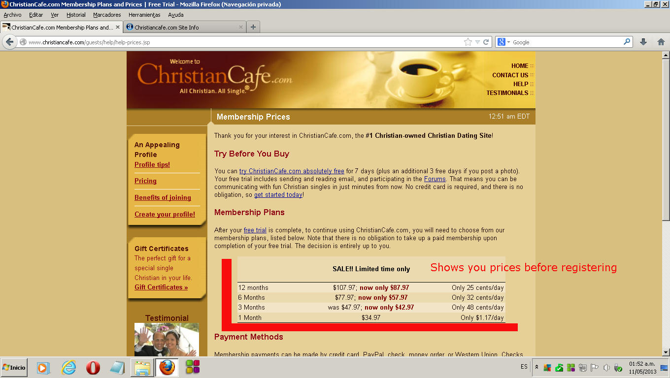 christian cafe free trial