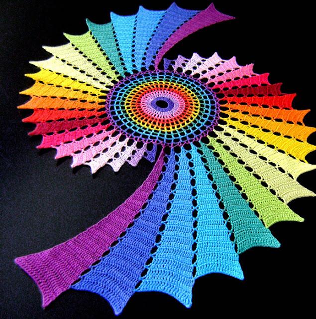 tapete espiral arco iris, patron crochet tapete espiral