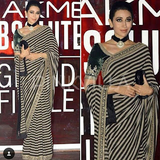 करिश्मा कपूर मोनोक्रोम स्ट्राइप ब्लैक एंड व्हाइट सरी, Karishma kapoori in stripe monochrome saree