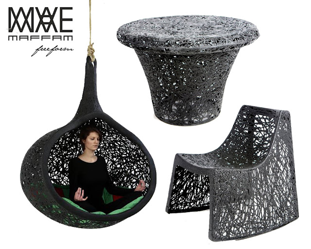 outdoor furniture made from lava rock