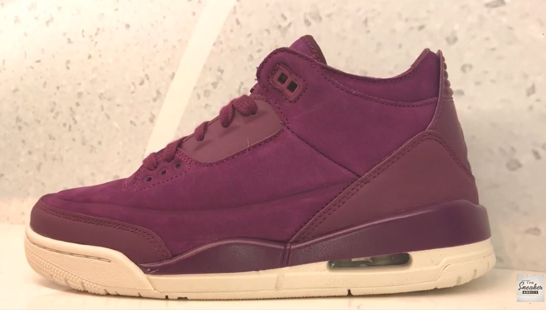 a684079c687 Air Jordan 3 Bordeaux Womens Exclusive Retro Sneaker (Detailed Look + Where  to Find)