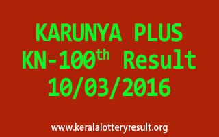 KARUNYA PLUS KN 100 Lottery Result 10-03-2016