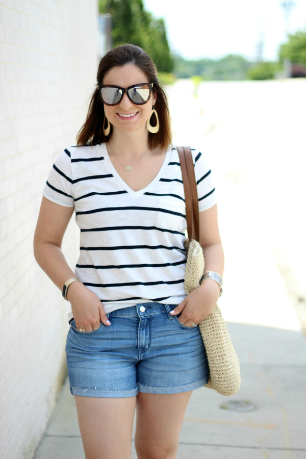 style on a budget, mom style, how to dress for summer, the perfect striped tee