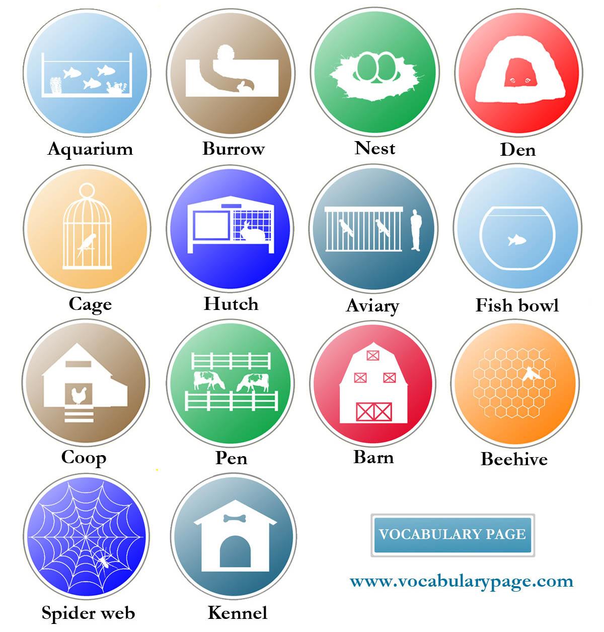 Vocabularypage Animal Homes