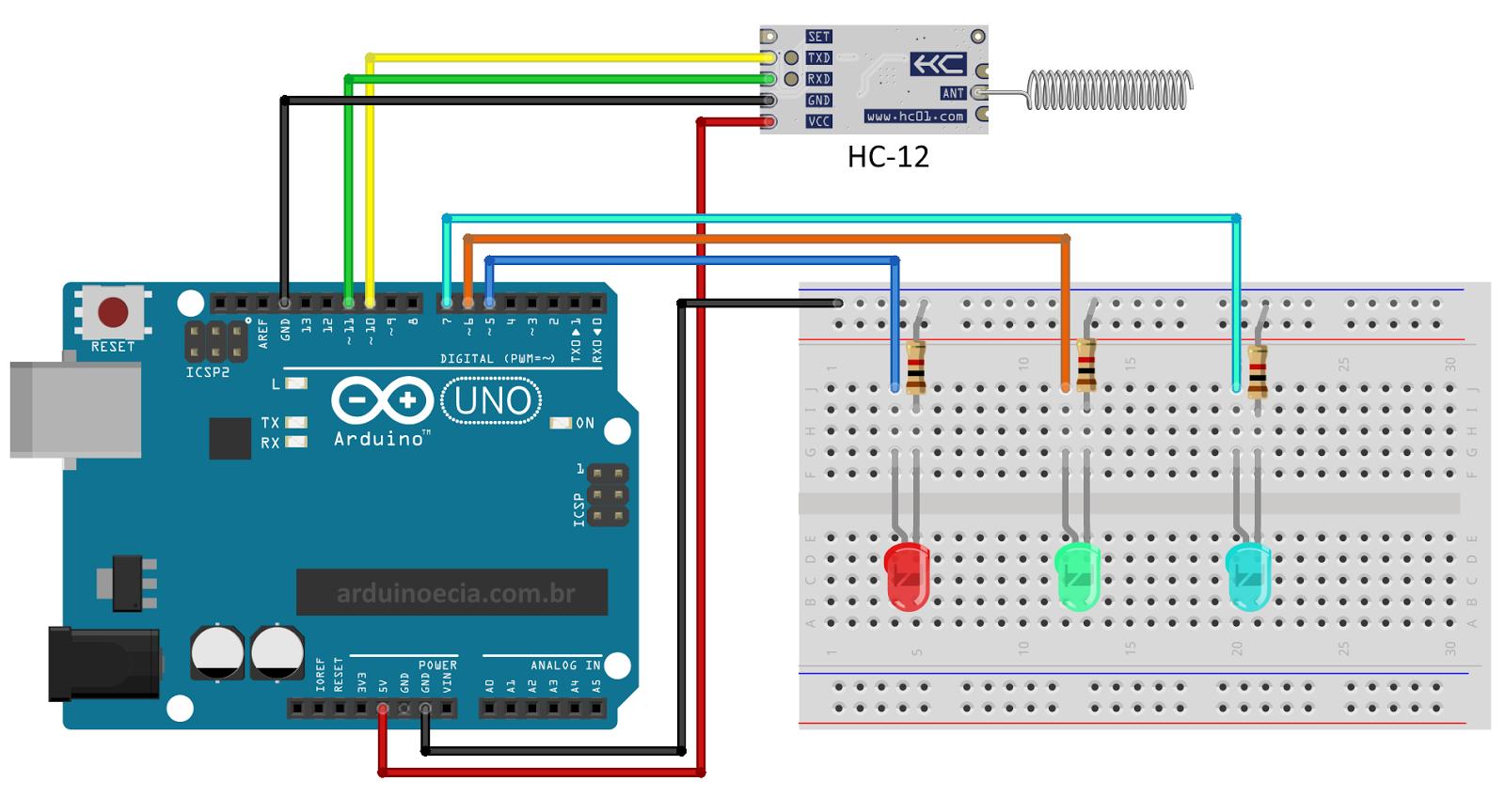 Circuito Arduino Uno e módulo wireless HC-12