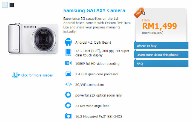Samsung GALAXY Camera from Celcom at RM 1,499