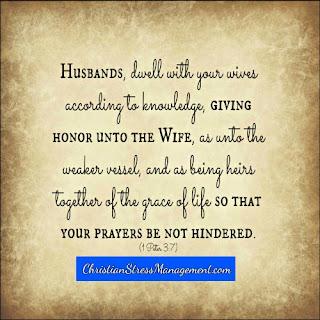 Husbands dwell with your wives according to knowledge, giving honor unto the wife as unto the weaker vessel and as being heirs together of the grace of life so that your prayers be not hindered 1 Peter 3:7