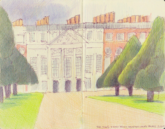 Hampton Court Palace East Front and the Yews, October 2012 copyright Katherine Tyrrell