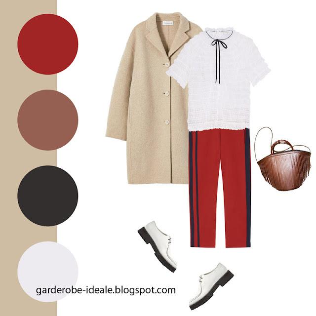 Белая блузка с рюшами с красными брюками с лампасами и пальто кэмел