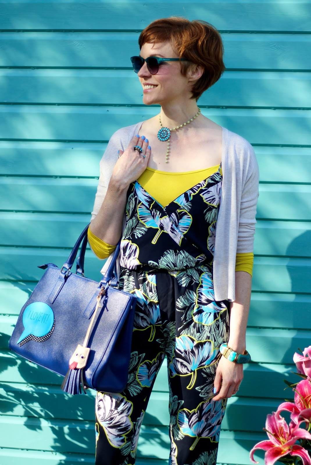 Fake Fabulous | Summer Jumpsuit in Autumn, floral jumpsuit, easy layering, over 40.