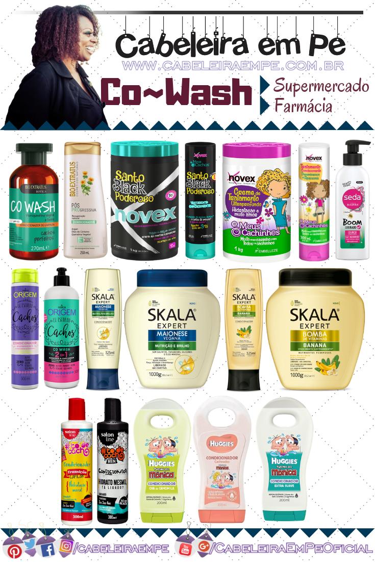 Lista de Condicionador e Máscara para Co wash - Bio Extratus, Embelleze, Seda, Nazca, Skala, Salon Line e Huggies