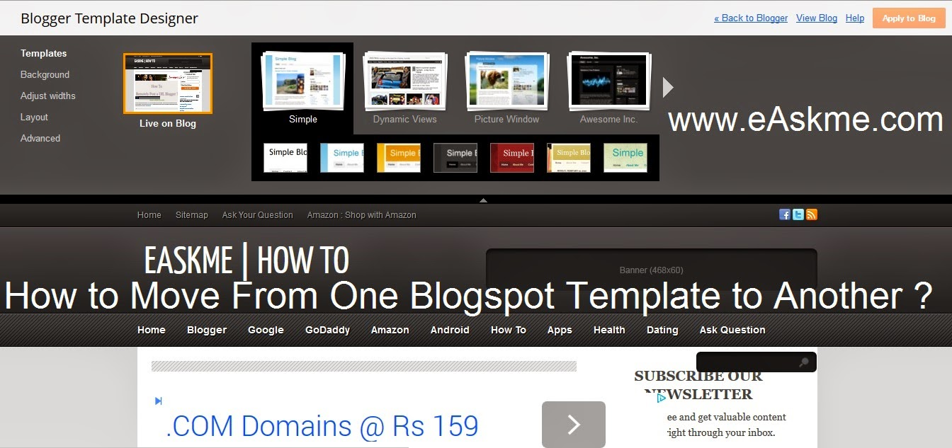 How to Move From One Blogspot Template to Another : eAskme