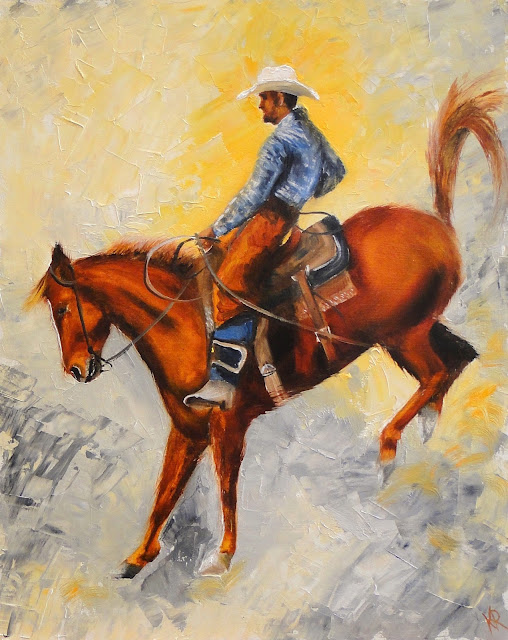 oil painting of a rodeo cowboy
