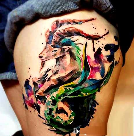 Watercolor Capricorn tattoos for men and women