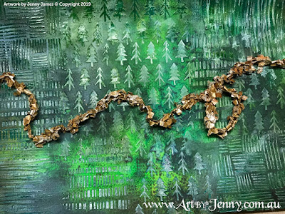 Paper Fringe Tinsel on the dark green textured background  - mixed media art by Jenny James
