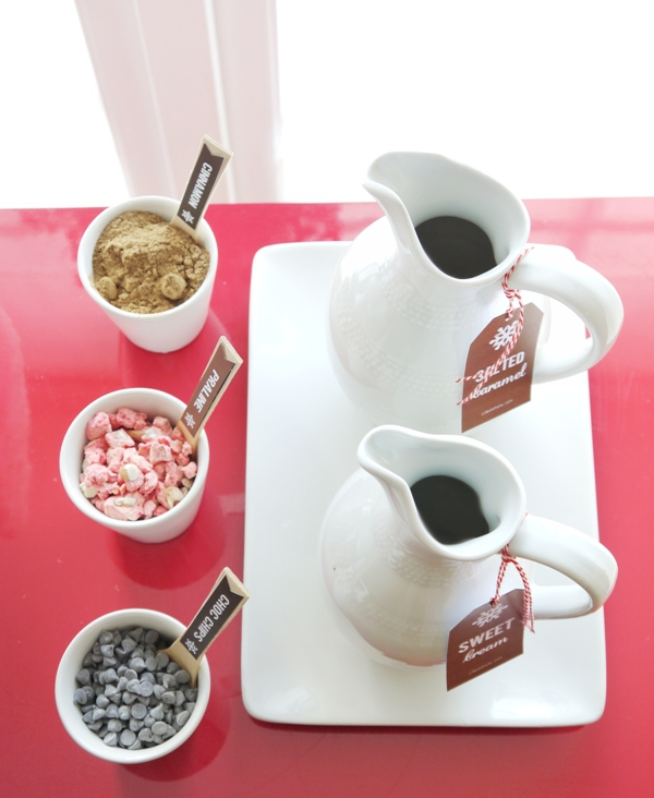 Quick and Easy Holiday Hot Cocoa Bar Cart - BirdsParty.com