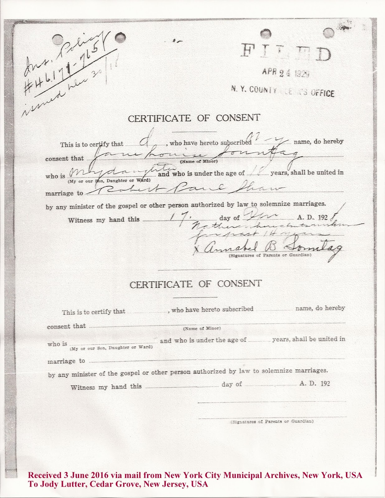 Family history research by jody nyc marriage records 1908 1929 the additional records were ordered because jane sonntags parents are confusing aiddatafo Gallery