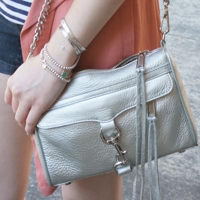 silver bracelet stack, Rebecca Minkoff metallic silver mini MAC | AwayfromTheBlue