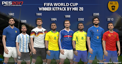 PES 2017 World Cup Winner Kit Pack From 1982-2010 Full Version