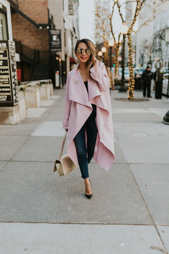 Chicago Fashion blogger, Jennifer Worman, Pink Duster Coat, Pink Duster Jacket, Chicago Style Blogger, Misguided Duster Jacket