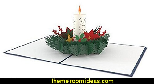 Christmas Candle 3D card  Christmas decorating ideas - Christmas decor - Christmas decorations - Christmas kitchen decor - santa belly pillows - Santa Suit Duvet covers - Christmas bedding - Christmas pillows - Christmas  bedroom decor  - winter decorating ideas - winter wonderland decorating - Christmas Stockings Holiday decor Santa Claus - decorating for Christmas - 3d Christmas cards