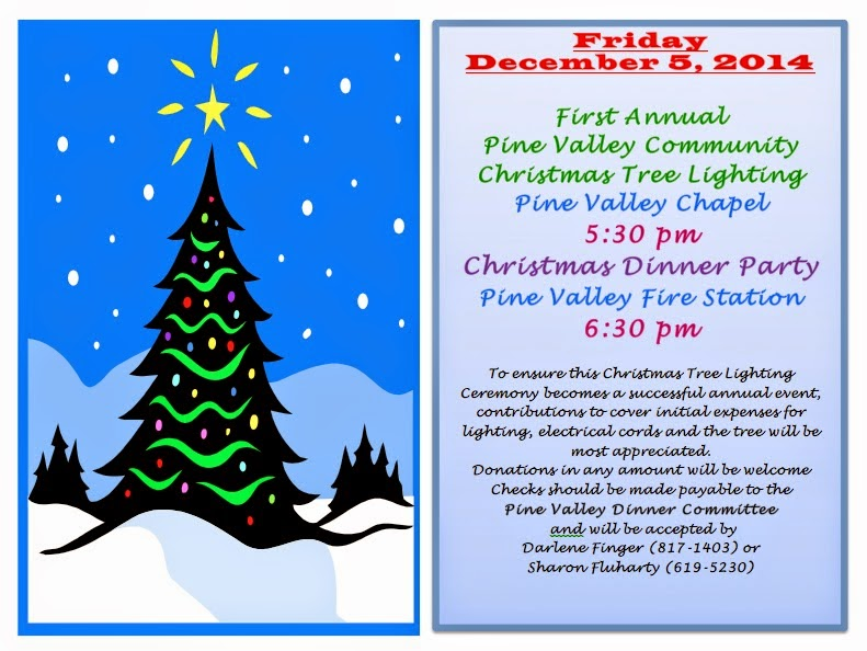 Pine Valley Blog: Save The Date--Christmas Tree Lighting