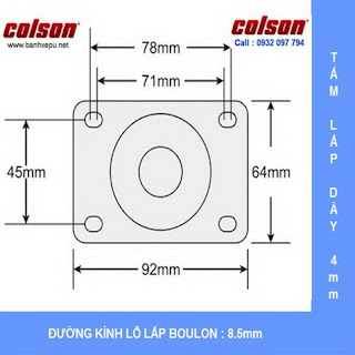 Bảng vẽ kích thước tấm lắp bánh xe công nghiệp Nylon có khóa chịu tải 122kg | S2-5256-255C-B4W www.banhxepu.net