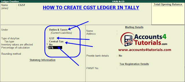 how to create cgst ledger in tally