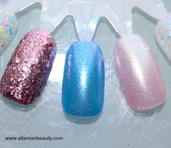 Sinful Colors Kandee Johnson Swatches: Spoon Full of Sugar, Blueberry Hot Rod, Pinksicle