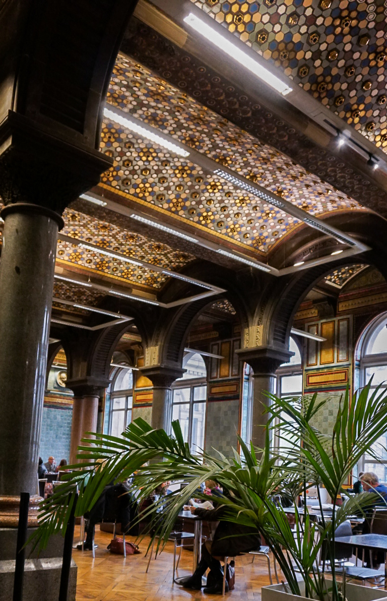 inside of the tiled hall cafe in Leeds art gallery