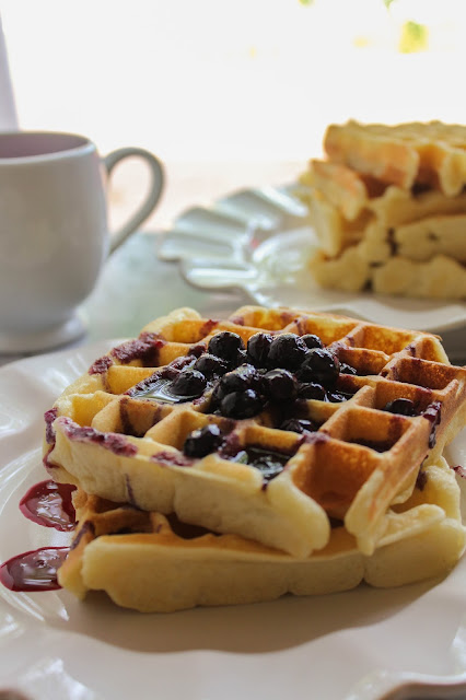 Cornmeal Belgian Waffles with Fresh Blueberry Syrup