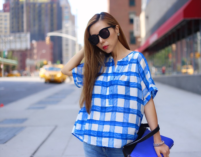 anthropologie checkered silk henley by maeve, blue checkers, blue outfit, celine edge, blank denim distressed jeans, chanel earring, karen walker sunglasses, jeffrey campbell wedges, t and j designs, fashion blog, streetstyle, nyc