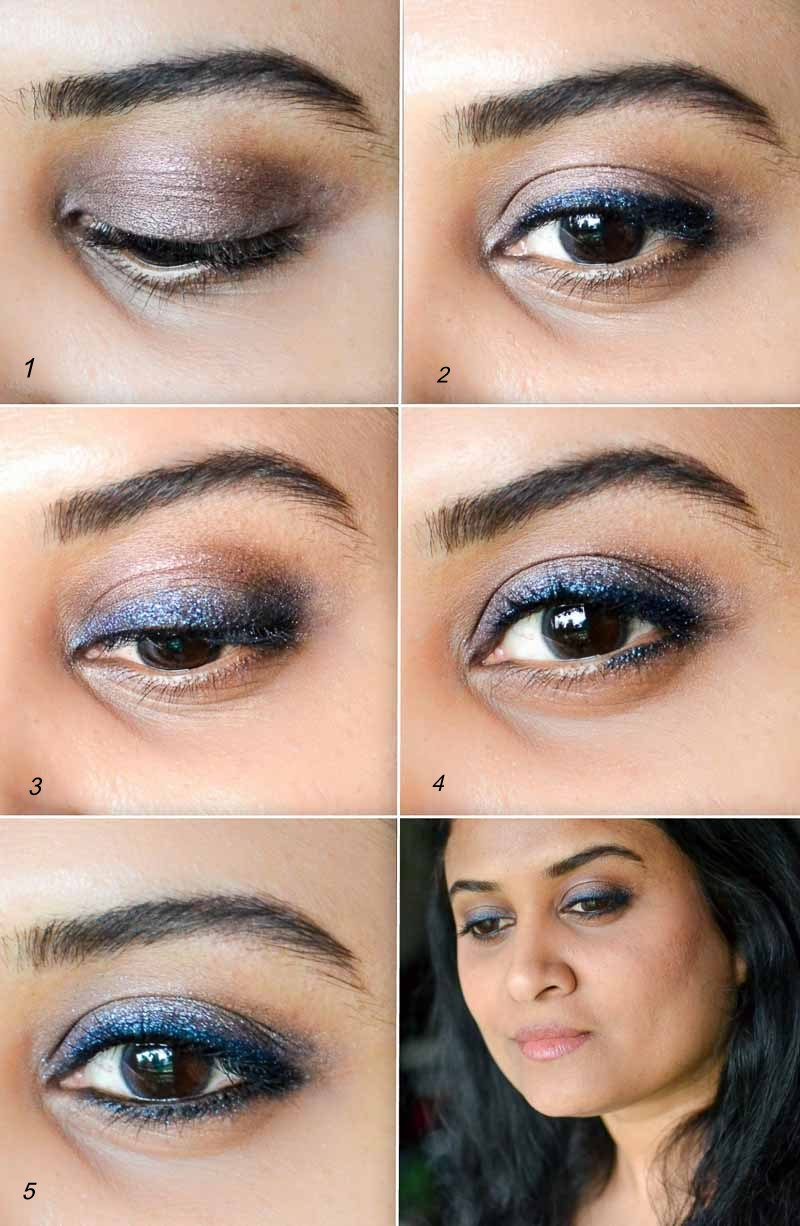 Smudged Shimmer Blue Brown Eyeliner Makeup Tutorial - Easy How to Apply Steps