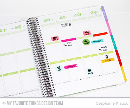 Handmade planner pieces from Stephanie Klauck featuring products from My Favorite Things #mftstamps
